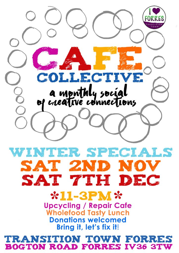 Poster of Cafe Collective event details for november and december 2019