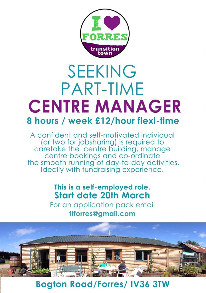 Advert Poster - Seeking Part-Time Centre Manager
